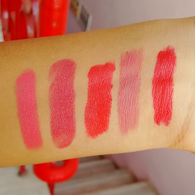 top 5 favourite lipsticks from R-L , scarlett o hara, holy go lightly, lakme pink affair, lakme crimson call, maybelline stay with me coral