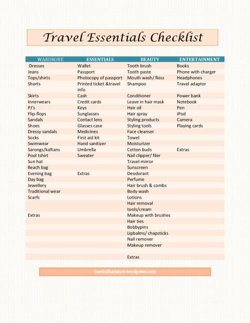 Travel essentials checklist with free printable